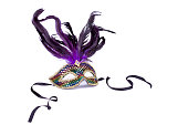 A Mardi Gras mask on white.