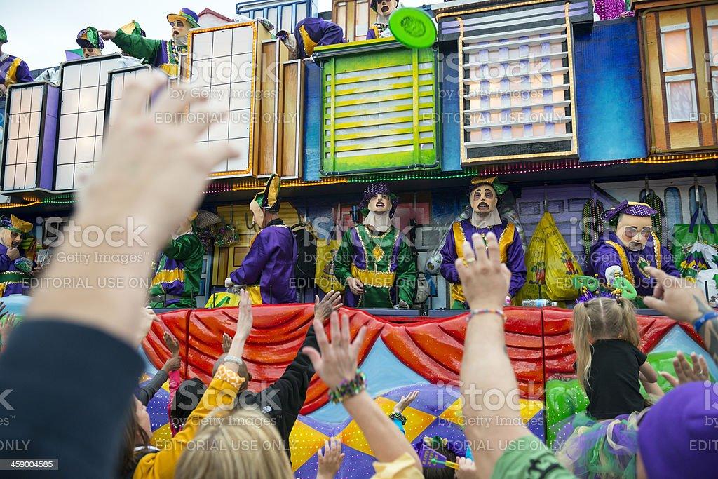 Mardi Gras parade on Canal Street stock photo