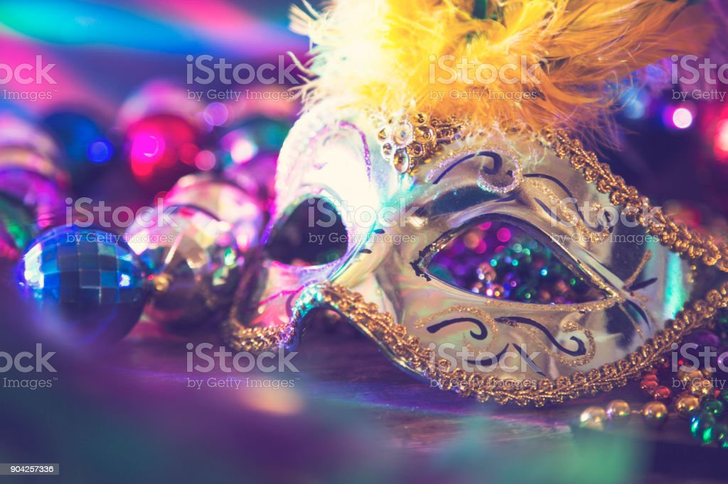 Mardi Gras, Rio carnival mask and colorful decorations. stock photo