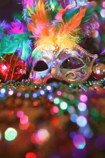 Mardi Gras, Rio carnival mask and colorful decorations. stock photo