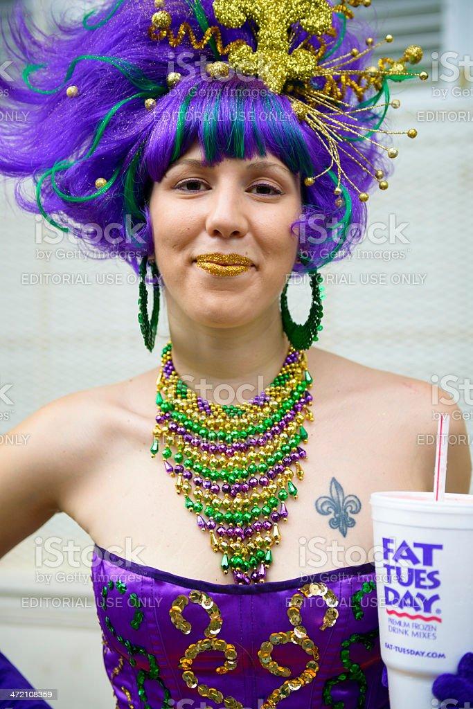 Mardi Gras woman on Fat Tuesday stock photo