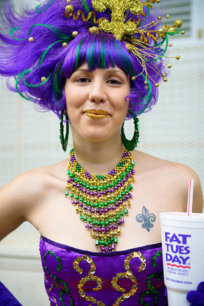 Young Woman Celebrating Mardi Gras On Bourbon Street Pictures