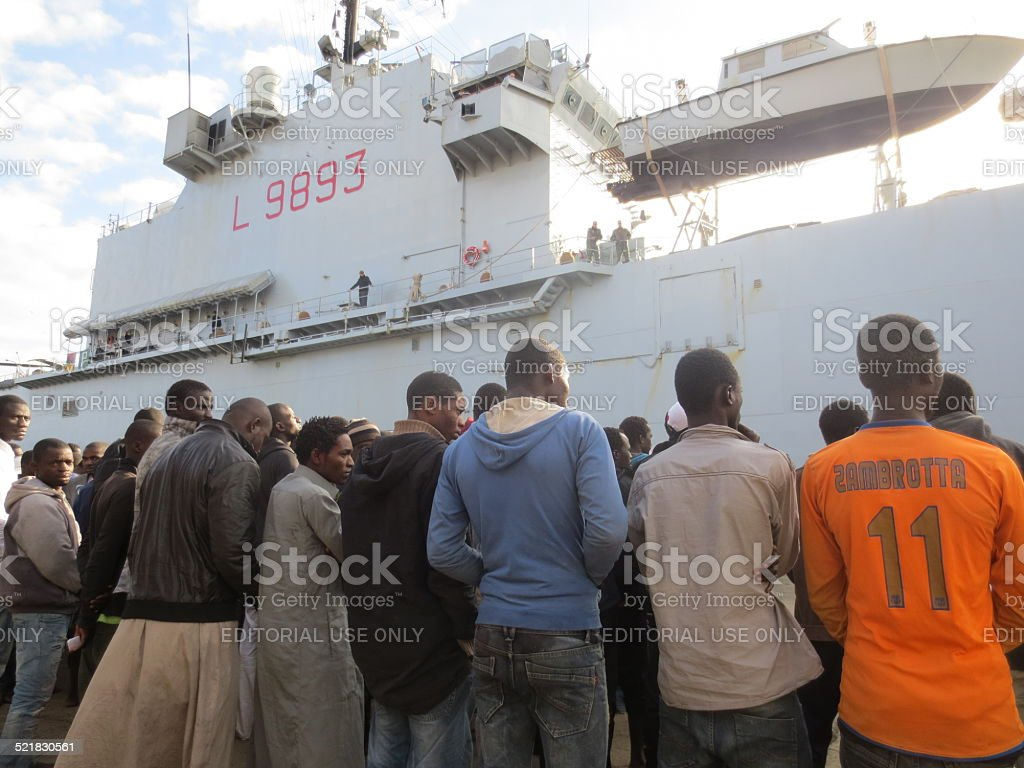 Mare Nostrum Operation: Italian Navy rescues African refugees in Sicily stock photo