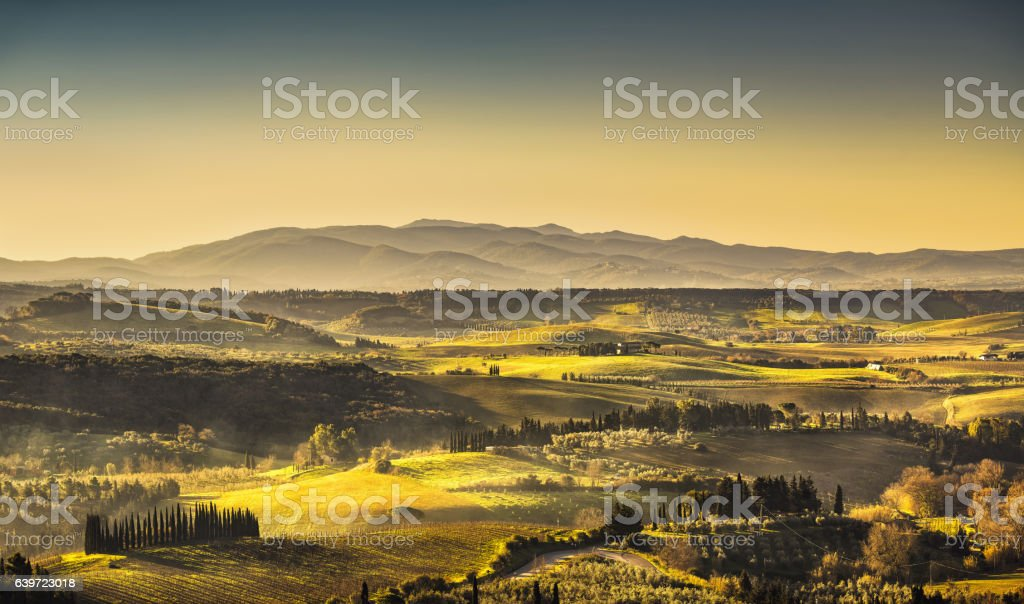 Maremma, rural sunrise landscape. Countryside old farm and green - foto stock