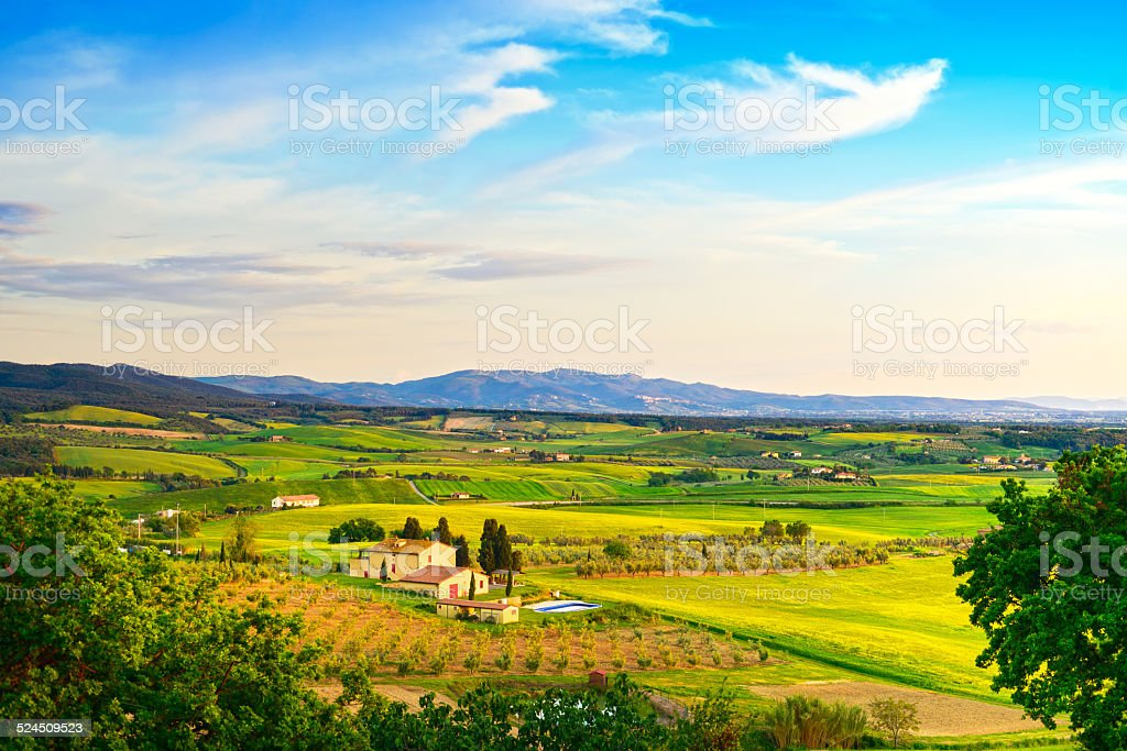 Maremma, rural sunset landscape. Countryside farm and green fiel stock photo