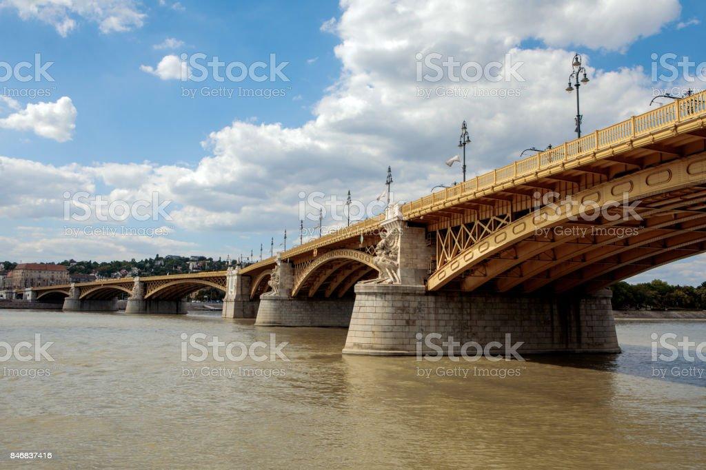 Margaret Bridge across the Danube stock photo