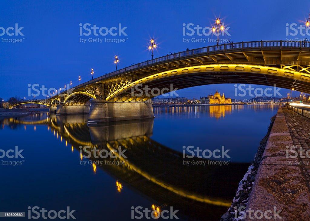 Margaret Bridge and the Parliament stock photo