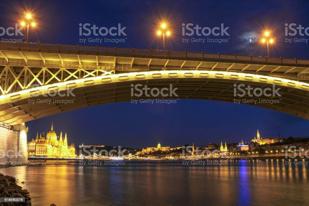 Margaret bridge at dusk in Budapest stock photo