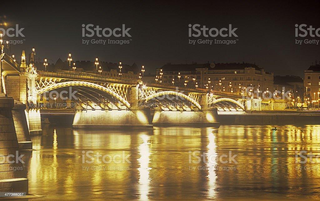 Margaret Bridge at night. stock photo