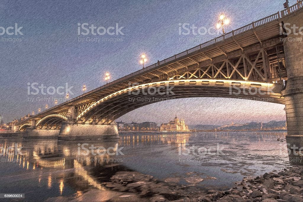 Margaret Bridge at night stock photo