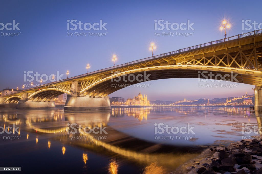 Margaret Bridge at night royalty-free stock photo