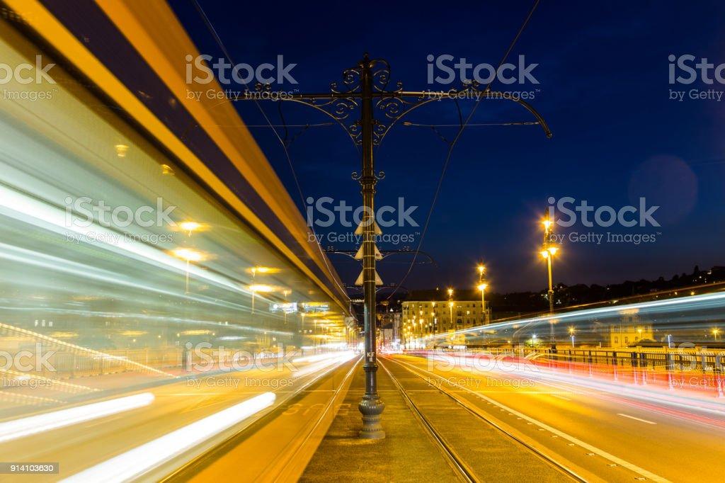 Margaret bridge at the night in  Budapest stock photo