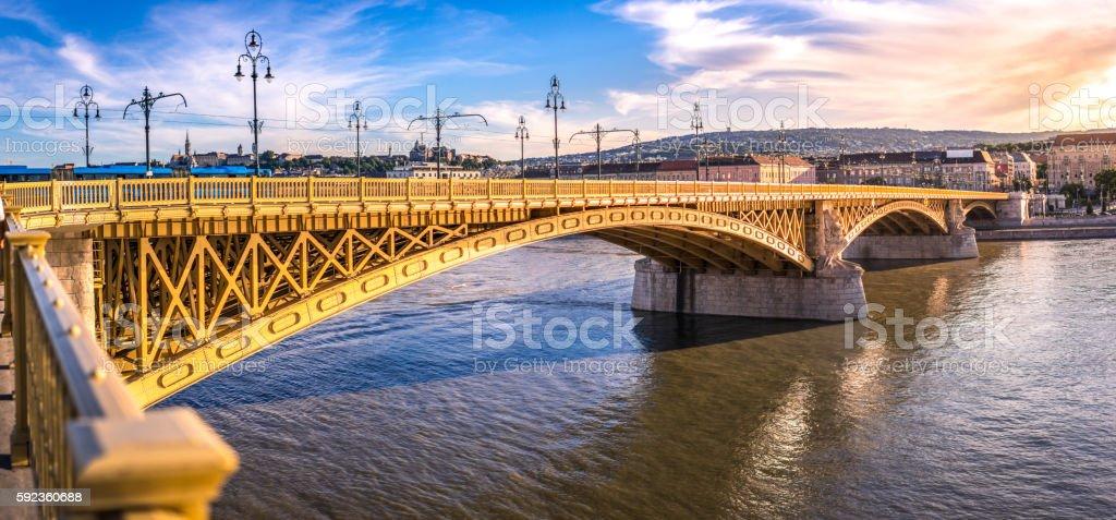Margaret Bridge. Budapest, Hungury stock photo