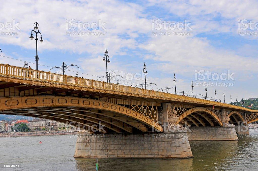 Margaret bridge on Danube river, Budapest, Hungary stock photo