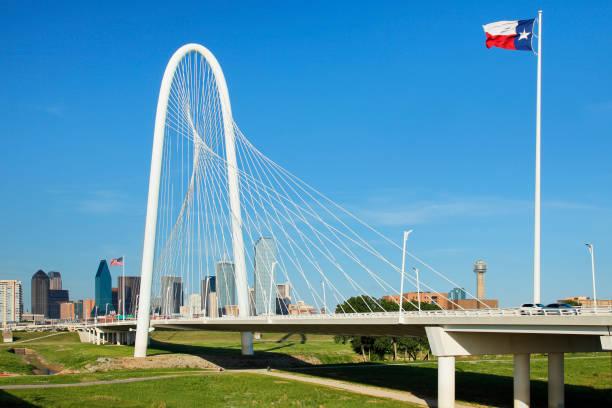 Margaret Hunt Hill bridge - Dallas Skyline - Texas stock photo