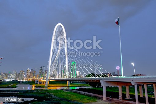Dallas, Texas,USA - May 27 2019 : Margaret Hunt Hill Bridge in Dallas Texas that spans the Trinity River. Completed in 2012 and designed by Santiago Calatrava. One of the iconic bridge in Dallas.