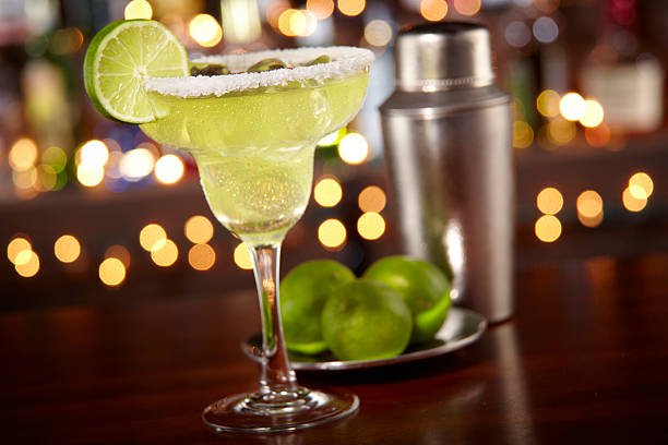 margarita at a bar - margarita drink stock photos and pictures