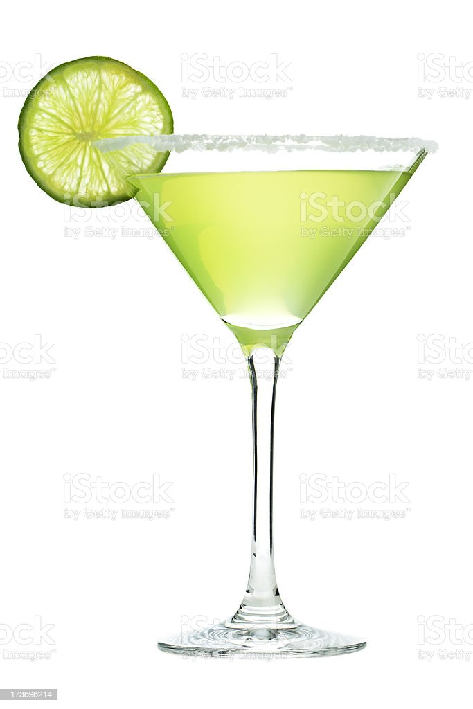 Margarita Cocktail Drink in Martini Glass with Salt and Lime stock photo