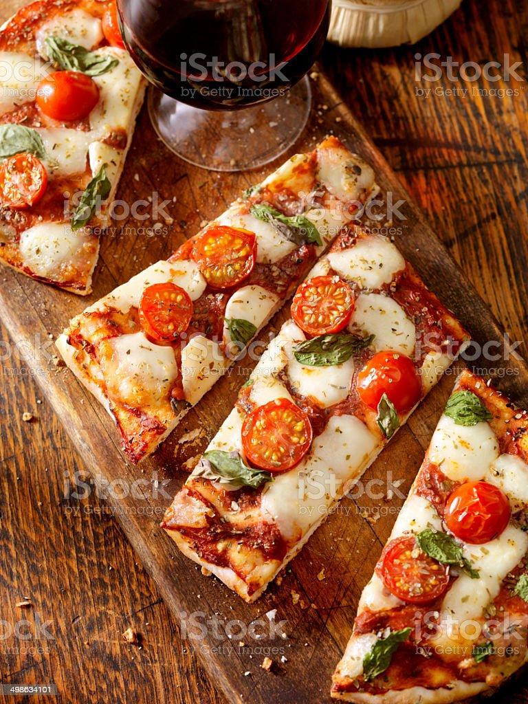 Margherita Flat Bread Pizza stock photo