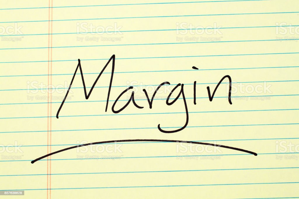 Margin On A Yellow Legal Pad stock photo