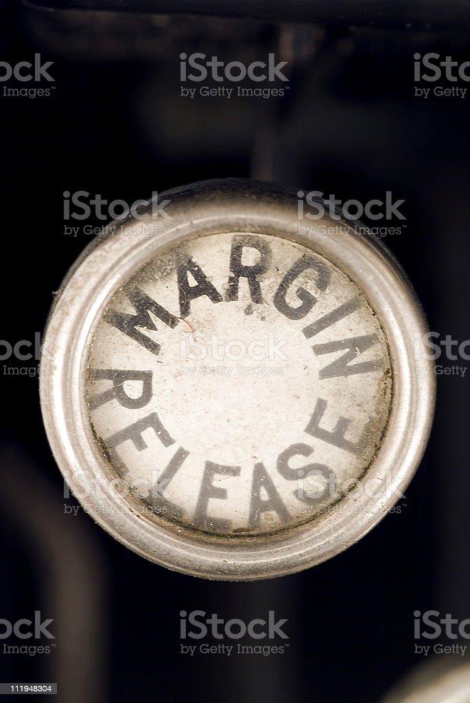 Margin Release on a old typewriter keyboard royalty-free stock photo