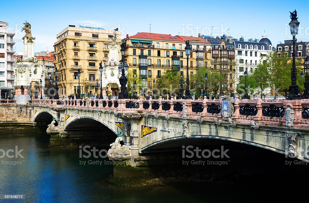 Maria Cristina bridge over Urumea river in Sant Sebastian stock photo