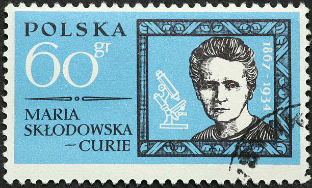 Maria Curie, atomic scientist on an old Polish stamp stock photo