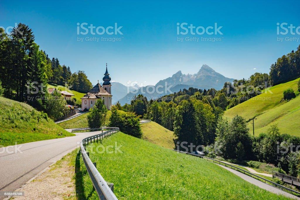 Maria Gern church against Wartzmann mountain, Germany – Foto