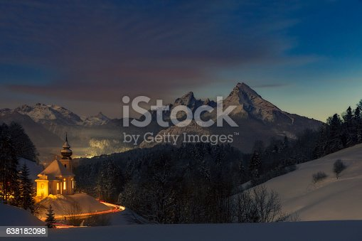 Maria Gern Church in Bavarian Alps  with Watzmann in background - Long exposure in the night