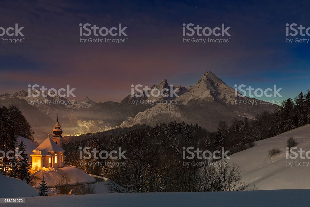 Maria Gern Church in Alps  Long exposure in the night stock photo