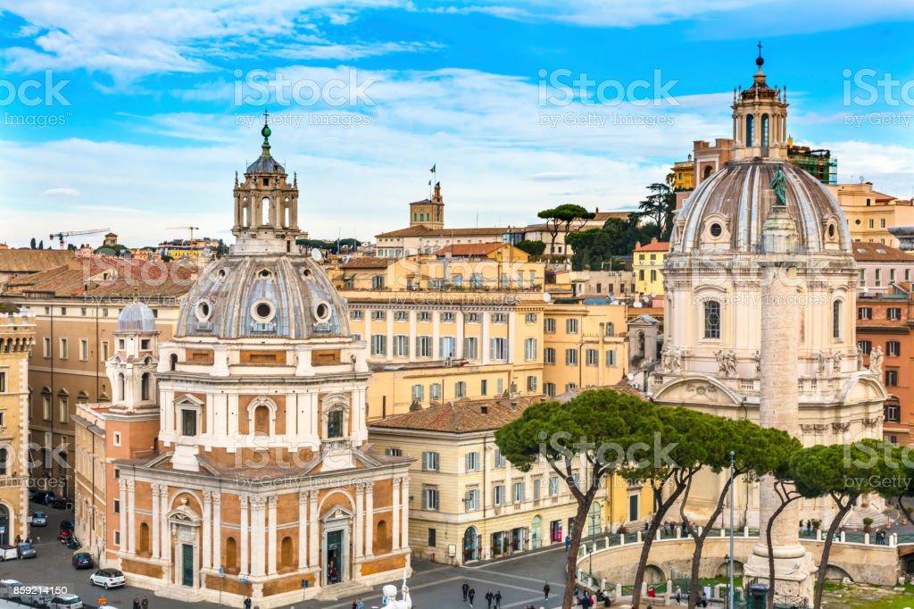 Maria Loreto Nome di Maria Churches Trajan Column Market Rome Italy stock photo