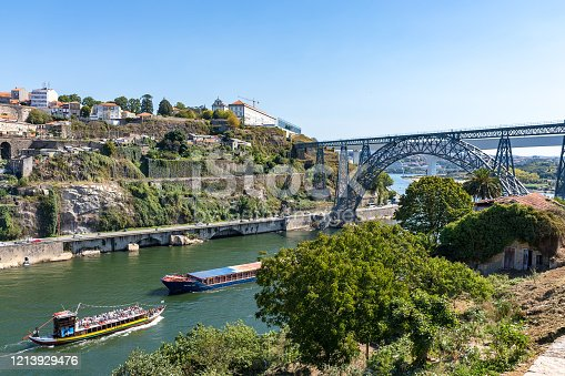 Maria Pia Bridge over the Douro river, Porto, Portugal and passing tourist boats