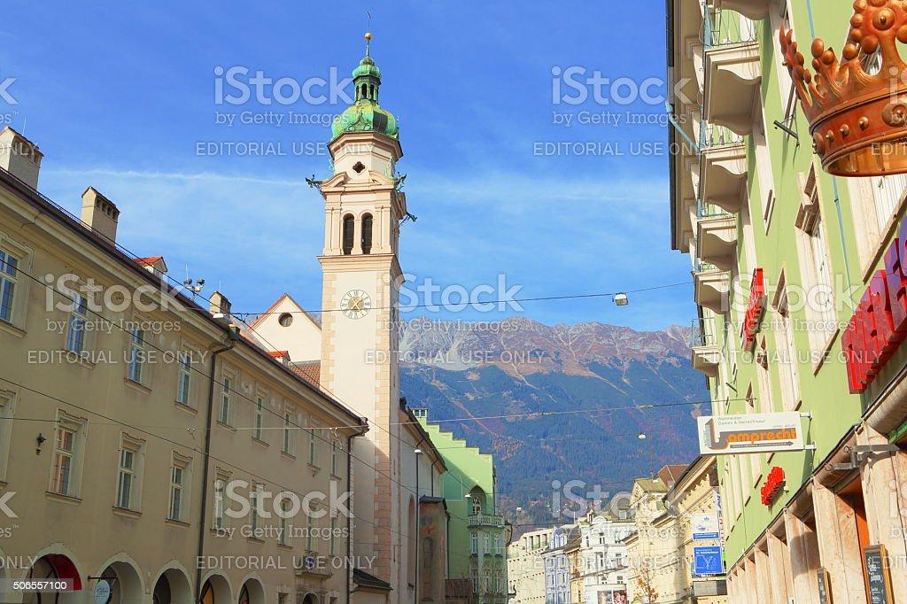 Maria Theresa Street with Servitenkirche SanktJosef stock photo