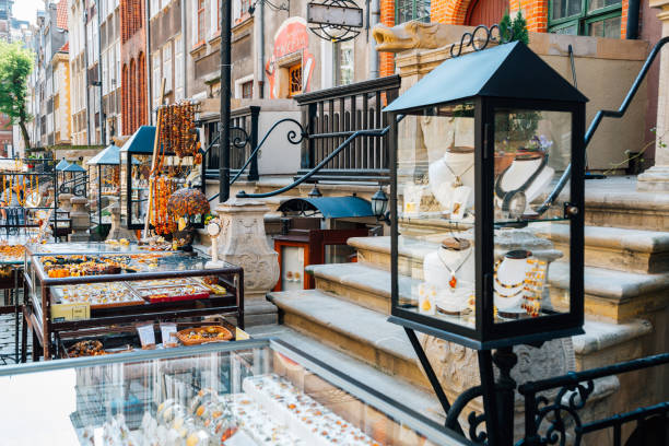 Mariacka Street, amber jewelry accessory shop in Gdansk, Poland stock photo