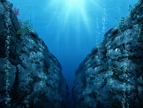 View from the Mariana Trench, the deepest depths in the Western Pacific, 3d render illustration
