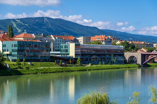 Maribor cityscape and Drava river in Slovenia.