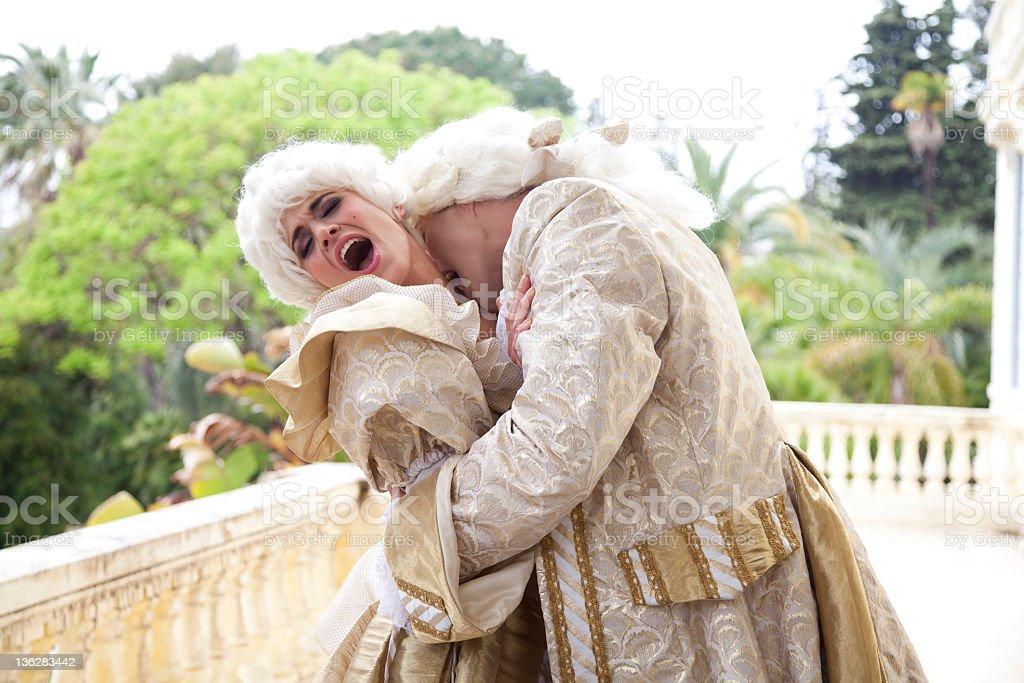 Marie Antoinette Being Bitten On The Neck stock photo