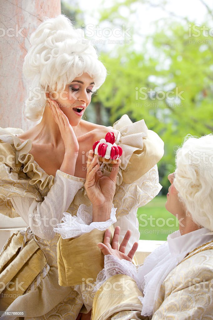 Marie Antoinette receiving a sweet surprise royalty-free stock photo