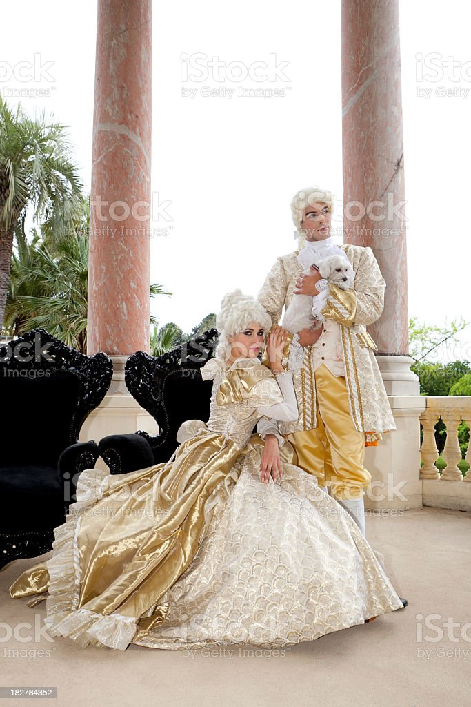Marie Antoinette with husband and dog royalty-free stock photo
