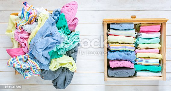 istock Marie Kondo tyding up method concept - before and after kids clothes drawer 1164401359