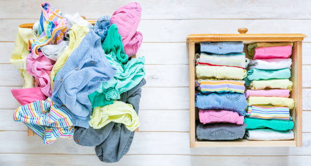 Marie Kondo tyding up method concept - before and after kids clothes drawer