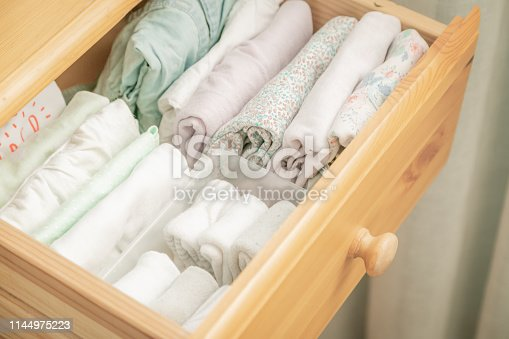 1164401360 istock photo Marie Kondo tyding up method concept - folded clothes 1144975223