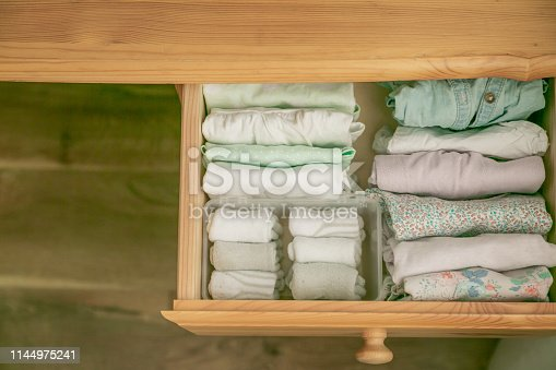 istock Marie Kondo tyding up method concept - folded clothes 1144975241