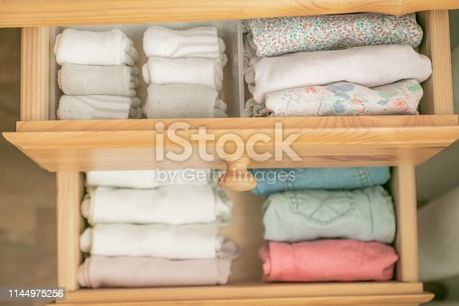 istock Marie Kondo tyding up method concept - folded clothes 1144975256