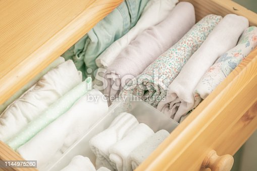 1164401360 istock photo Marie Kondo tyding up method concept - folded clothes 1144975260
