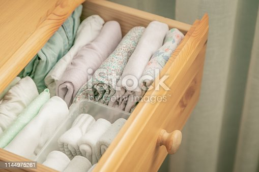 istock Marie Kondo tyding up method concept - folded clothes 1144975261
