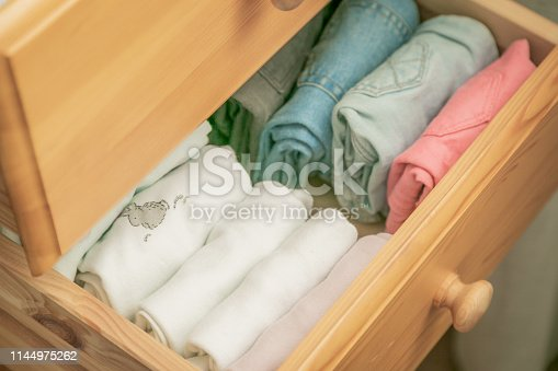 1164401360 istock photo Marie Kondo tyding up method concept - folded clothes 1144975262