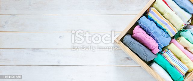 1164401360 istock photo Marie Kondo tyding up method concept - folded clothes 1164401356
