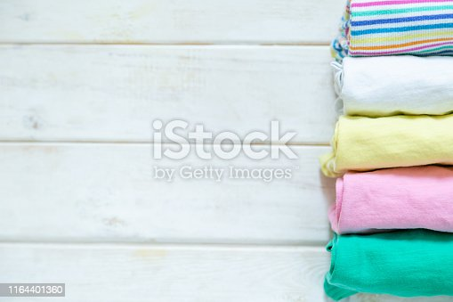 1164401360 istock photo Marie Kondo tyding up method concept - folded clothes 1164401360
