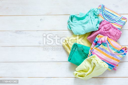 istock Marie Kondo tyding up method concept - folded clothes 1164401362